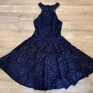 B. Darlin Navy and Silver A-Aline Dress